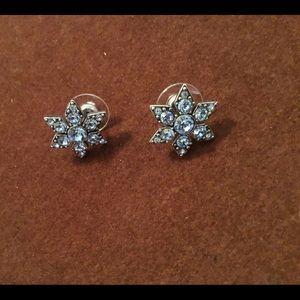 "Blue CZ ""snowflake"" post earrings"
